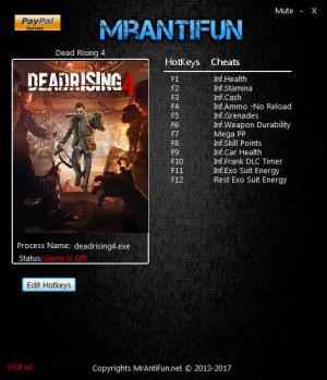 Dead Rising 4 Trainer for PC game version 1.01