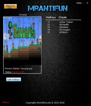 Terraria Trainer for PC game version 1.3.5.1