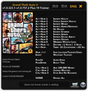Grand Theft Auto 5 Trainer +19 GTA V 1.0.323.1 - 1.0.757.2 {FLiNG}