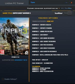 Sniper: Ghost Warrior 3 Trainer for PC game version 1.0