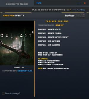Outlast 2 Trainer for PC game version 1.01 64bit