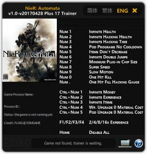 NieR: Automata Trainer for PC game version 1.0 - 28.04.2017