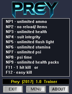 Prey 2017 Trainer +12 v1.0 {dR.oLLe}