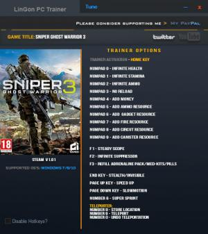 Sniper: Ghost Warrior 3 Trainer for PC game version 1.01.0 64bit