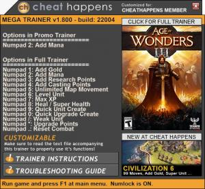 Age of Wonders 3 Trainer for PC game version 1.800 Build 22004
