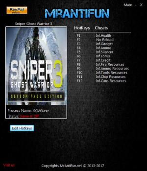 Sniper: Ghost Warrior 3 Trainer for PC game version 1.01