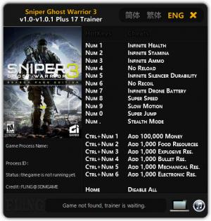 Sniper: Ghost Warrior 3 Trainer +17 v1.0 - 1.0.1 {FLiNG}