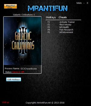 Galactic Civilizations 3 Trainer for PC game version 2.1