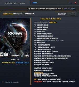 Mass Effect: Andromeda Trainer for PC game version 1.06