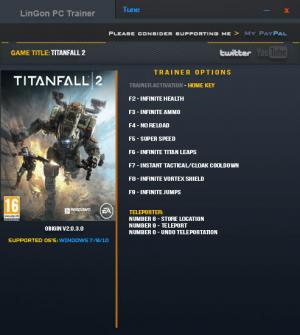 Titanfall 2 Trainer for PC game version 2.0.3.0 x64bit