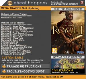 Total War: Rome 2 Trainer for PC game version 2.2.0 Build 16155 736913