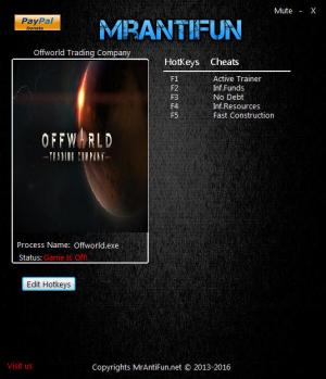 Offworld Trading Company Trainer for PC game version 1.13.15829