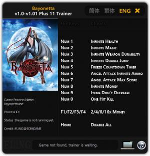 Bayonetta Trainer for PC game version 1.0 - 1.01