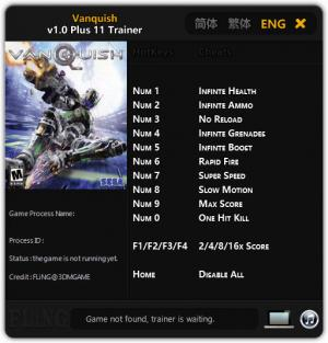 Vanquish Trainer for PC game version 1.0