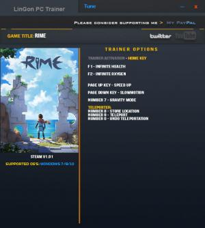 RiME Trainer for PC game version 1.01