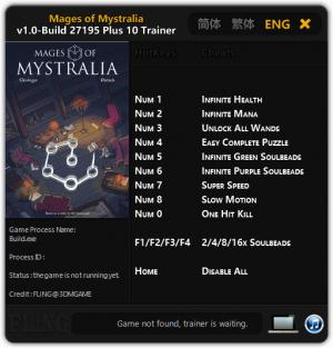Mages of Mystralia Trainer for PC game version 1.0 - Build 27195