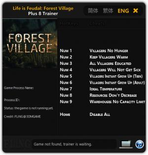 Life is Feudal: Forest Village Trainer for PC game version Updated 2017.06.02