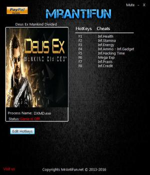 Deus Ex: Mankind Divided Trainer for PC game version 1.19 Build 801