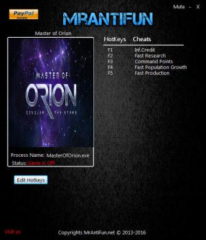 Master of Orion 2016  Trainer for PC game version v55.1