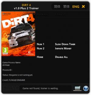 DiRT 4 Trainer for PC game version 1.0