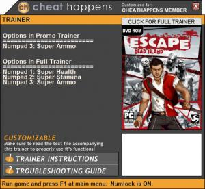 Escape Dead Island Trainer +3 Patch 06.11.2017 (Cheat Happens)