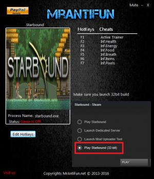 Starbound Trainer +6 v1.3.0 32bit {MrAntiFun}