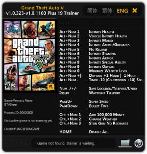 Grand Theft Auto 5 Trainer +19 GTA V 1.0.323 - 1.0.1103 {FLiNG}