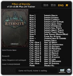 Pillars of Eternity Trainer +24 v1.0 - 3.06 {FLiNG}