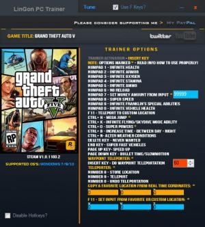Grand Theft Auto 5 Trainer for PC game version 1.0.1103.2