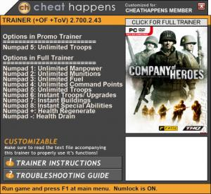 Company of Heroes 2 Trainer for PC game version 2.700.2.43 Update 06.16.2017