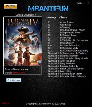 Europa Universalis 4 Trainer for PC game version 1.22.0.0