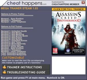 Assassin's Creed: Brotherhood Trainer for PC game version 1.03 Update 06.19.2017