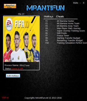 FIFA 17 Trainer for PC game version 06.19.2017
