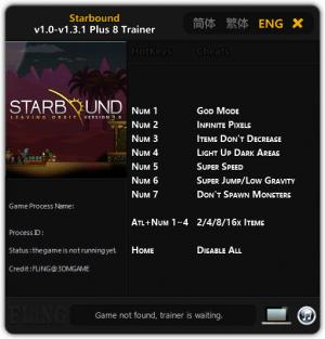 Starbound Trainer for PC game version 1.0 - 1.3.1 64 Bit