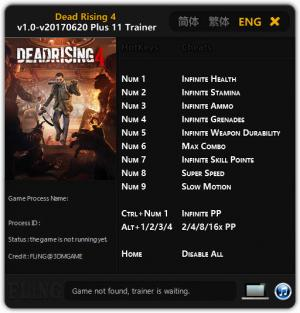 Dead Rising 4 Trainer for PC game version 1.0 - 2017.06.20