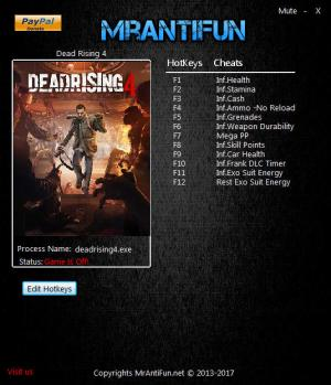 Dead Rising 4 Trainer for PC game version 1.02 Steam