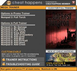 Darkest Dungeon Trainer +10 Build 20108 (Cheat Happens)
