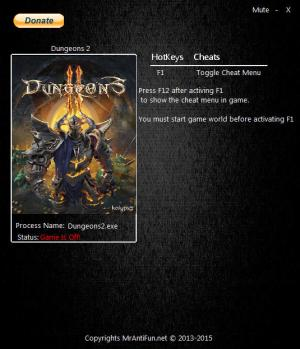 Dungeons 2 Trainer for PC game version 1.6.1.30