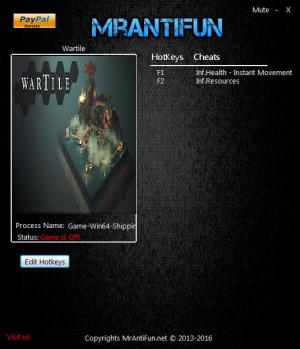 Wartile Trainer for PC game version 0.4.5.2