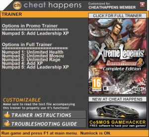 Dynasty Warriors 8: Xtreme Legends Complete Edition Trainer +5 v06.29.2017 (Cheat Happens)