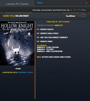 Hollow Knight Trainer +9 v1.0.3.7 {LinGon}