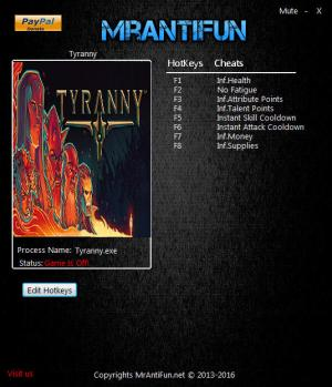 Tyranny Trainer for PC game version 1.1.1.0059