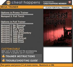 Darkest Dungeon Trainer +10 Build 20239 (Cheat Happens)