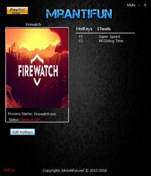 Firewatch Trainer for PC game version 07.05.2017