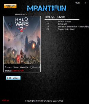Halo Wars 2 Trainer for PC game version 1.4.1936.2