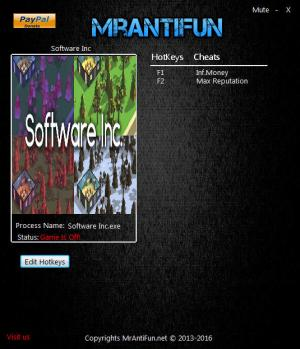 Software Inc Trainer for PC game version 9.9.7 64bit