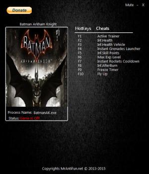 Batman: Arkham Knight Trainer for PC game version 08.20.2016