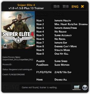 Sniper Elite 4 Trainer for PC game version 1.0 - 1.5.0