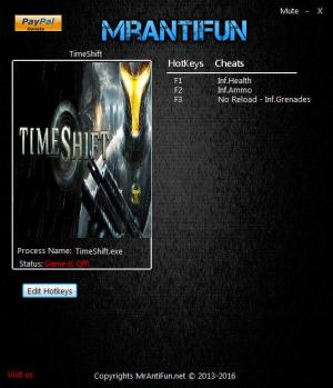 TimeShift Trainer for PC game version 1.00