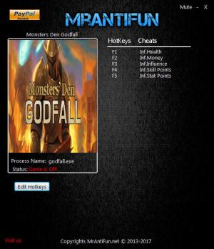 Monsters' Den: Godfall Trainer for PC game version 1.051